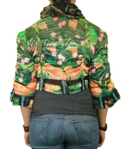 CUSTO BARCELONA Women/'s Trirty Owl 3//4 Sleeve Cropped Jacket 592398 $269 NWT