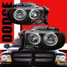 97-04 Dodge Dakota 98-03 Durango Dual CCFL Halo LED 1pc Style Headlights Black