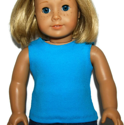 """fits 18/"""" American Girl Dolls Doll Clothes TURQUOISE RIBBED KNIT TANK TOP"""