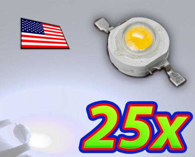 [25x] 1W Cool White High Power LED Lamp Beads 80-110Lm 1 Watt