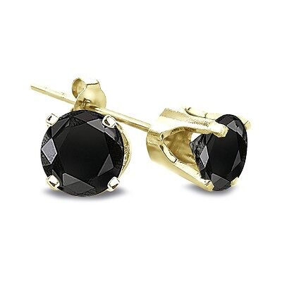 1/2 Ct Round Treated Black Diamond 14K Yellow Gold Stud Earrings