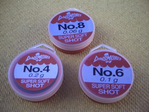 No 6 Super Soft Shot. 3 x Assorted Dinsmore Refil Tubs.Sizes  No 4 /& No 8.
