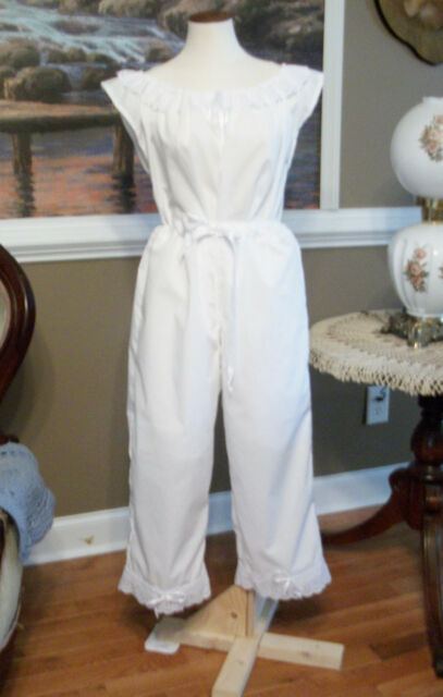 CIVIL WAR DRESS VICTORIAN UNDERPINNING-REPAIRED-- CLOSED CROTCH PANTALETS-PLUS