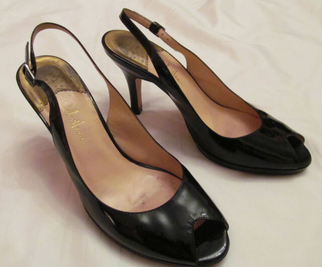 7bc25ce5259 COLE HAAN NIKE AIR patent leather slingback peep toe pumps shoes 9 B