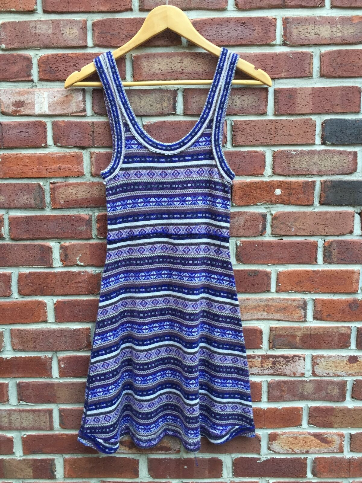 FREE PEOPLE bluee Brown Sleeveless Sweater Dress Knit Acrylic Wool Blend