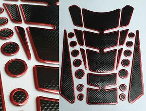 Cubierta-deposito-Tank-proteccion-motocicleta-carbon-optica-rojo-negro-universal-varias-partes