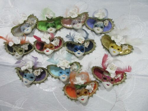 12 MINI 9cm Venetian Top Hat Feather Mask Fridge Magnet Ornament Craft Favour