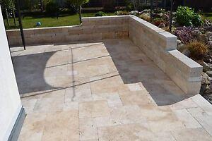 Terassenplatten Gartenplatten Bodenplatten Travertin Light Antik - Gartenplatten 60x40
