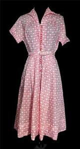 RARE-VINTAGE-1950-039-S-RED-AND-WHITE-SMALL-FLORAL-PRINT-NYLON-SHEER-DRESS-SIZE-6-8