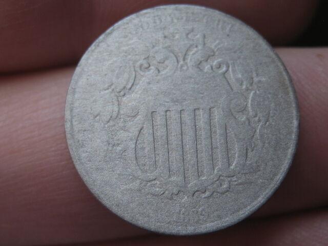 1869 Shield Nickel 5 Cent Piece- Narrow Tall Date