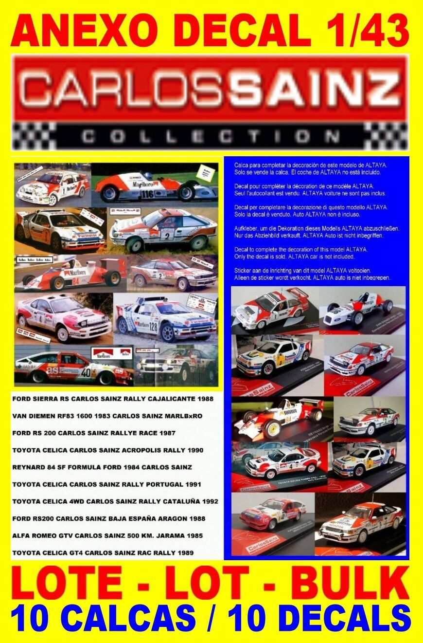 ANEXO DECAL 1 43 LOTE – BULK – LOT CARLOS SAINZ COLLECTION -10 DECALS   (01)