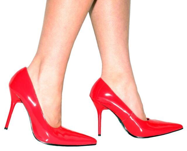 Black Patent /'Slinky/' Stiletto Heel Court Shoes Sizes UK 10 EU 43