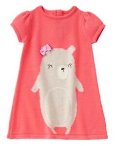 GYMBOREE-WOODLAND-WONDER-PINK-w-CUTE-BEAR-SWEATER-DRESS-12-18-24-2T-3T-4T-NWT