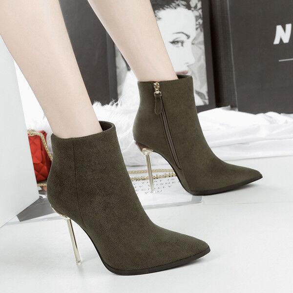 botas stivaletti bassi stiletto 11 cm caviglia verde eleganti simil simil simil pelle 9544  precios bajos todos los dias