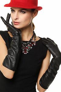 Womens-long-GENUINE-LAMBSKIN-leather-opera-gloves-black