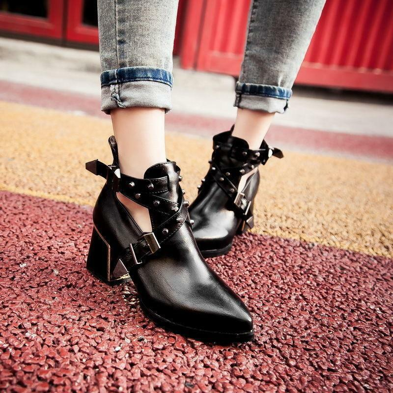Punk Womens ankle boots Vintage strappy cross Rivet pumps mid heel Goth shoes SZ