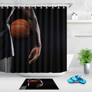 Image Is Loading Basketball Man Fabric Shower Curtain Set Polyester Curtains