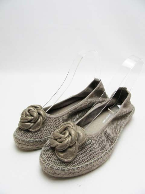 Auth ANDRE ASSO  Cleo Espadrille Flat Shoes, Pewter, Size 7