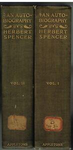 An-Autobiography-by-Herbert-Spencer-2-Vol-1904-1st-Ed-Rare-Book