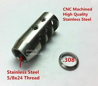 Stainless Steel 5/8x24 Thread 308 Short Competition Muzzle Brake + Crush Washer