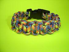 "550 ParaCord Survival Cobra Braided Bracelet - Jaw Breaker Colored 3/4"" Buckle"