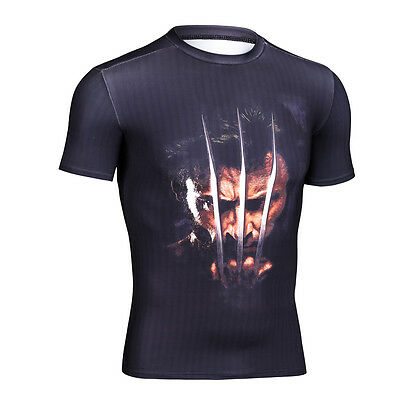 Men's Short Sleeve Compression Black Tee Tops Slim Fit Gym Cycling 3D T-shirts