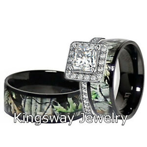 Mens-amp-Womens-Black-Titanium-Camo-Sterling-Silver-Halo-Engagement-Wedding-Rings