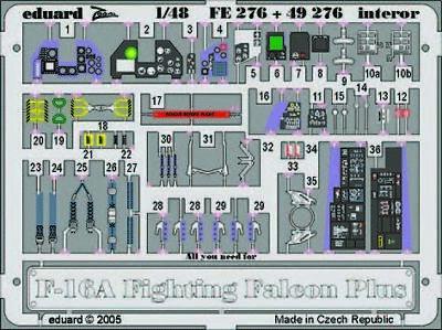 Neu Eduard Accessories Ss202-1:72 F-16Cj Fighting Falcon Ätzsatz