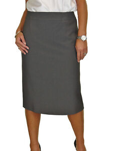 Damenmode Zielsetzung Calf Length Washable Lined Pencil Skirt Back Detail Grey Tweed New 10-22