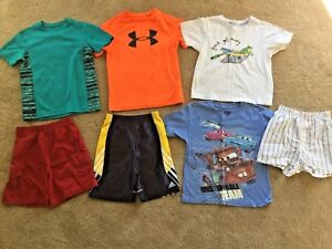 LOT-BOYS-4-5-UNDER-ARMOUR-ADIDAS-OLD-NAVY-SHORT-SLEEVE-SHIRTS-amp-PAIR-NEW-SHORTS