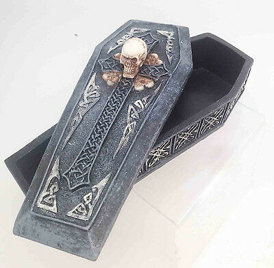 "Gothic Skull Cross Coffin Box Casket Statue 6.5"" Long Resin Made Skeleton Decor"