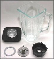 5 Cup Square Top 6 Piece Complete Glass Jar Replacement Set,fits Oster Blender