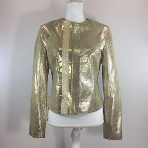 Wilsons-Leather-Pelle-Studio-Womens-Jacket-Small-Gold-Croc-Embossed-Metallic