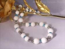 ♥ Dream-Pearls Halskette mit Korallen & Swarovski Kristall weiß blau ♥HK050