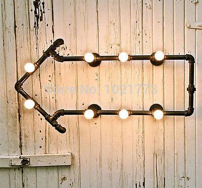 Industrial Cafe Pipe Arrow Wall Art Lamp Steampunk Loft Quirky Shelf Sconce