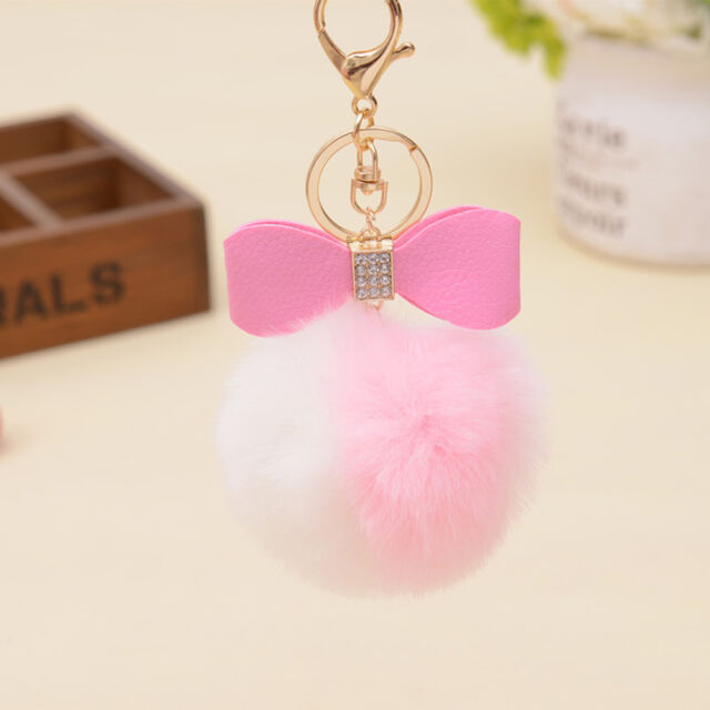 Rabbit Fur Pom-pom Key Chain Bag Charm Fluffy Puff Ball Bow Car Pendant Key Ring