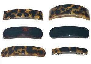 Women/'s French Hair Barrettes Clips Tortoiseshell Animal Print Made in France