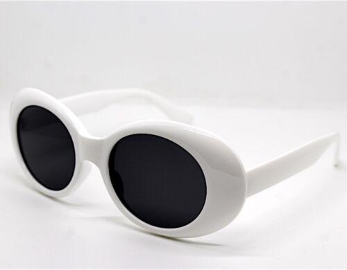 Lunettes de Soleil Femme Homme Ronde Ovale Grand Blanc Style Kurt Cobain Rétro