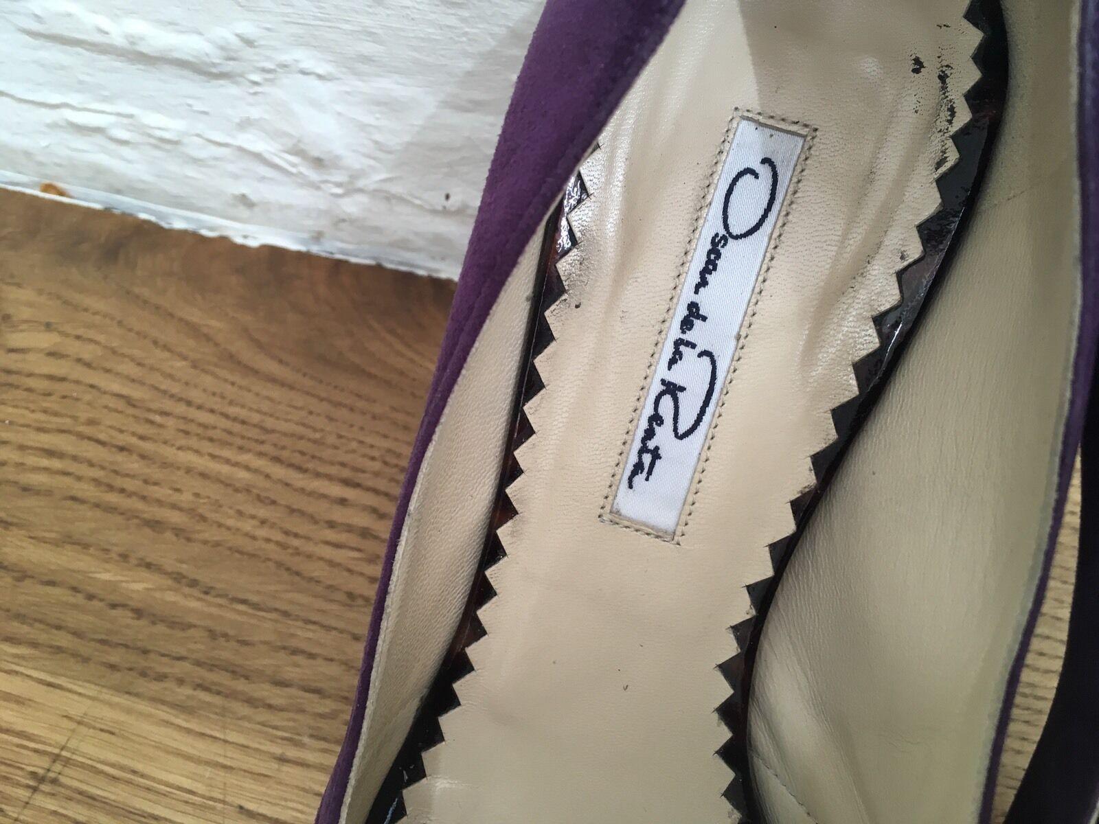 Oscar de de de la Renta jewel suede peep-toe platform Schuhes Pumps Größe 37 UK 4 US 7 156d0c