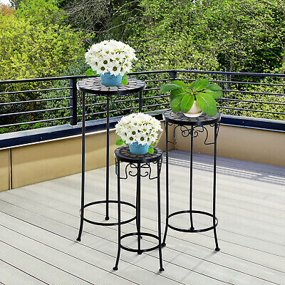 Set of 3 Plant Stand Flower Table Garden Display Outdoor Home Decor Metal Black