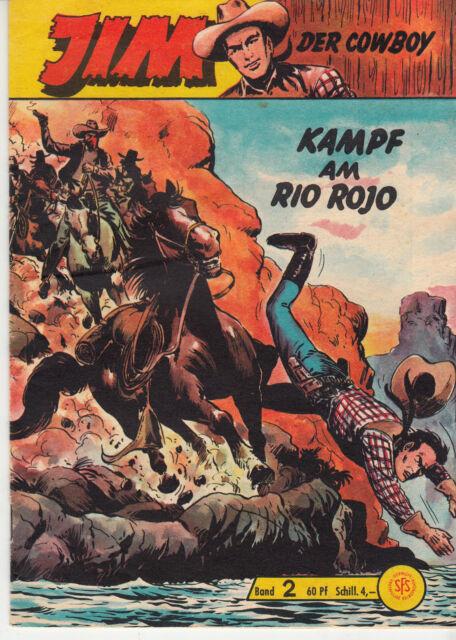 Jim der Cowboy Nr. 2 (1-2) schöner Zustand Original Lehning Gb mit Sammelmarke