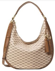 c9cdb44810cf Image is loading New-Michael-Kors-Natural-Luggage-Lauryn-Large-Shoulder-