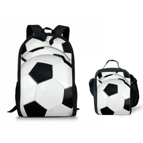 Football Designs Backpack Kids Boys 2pcs School Bag Set with Lunch Bags Cooler