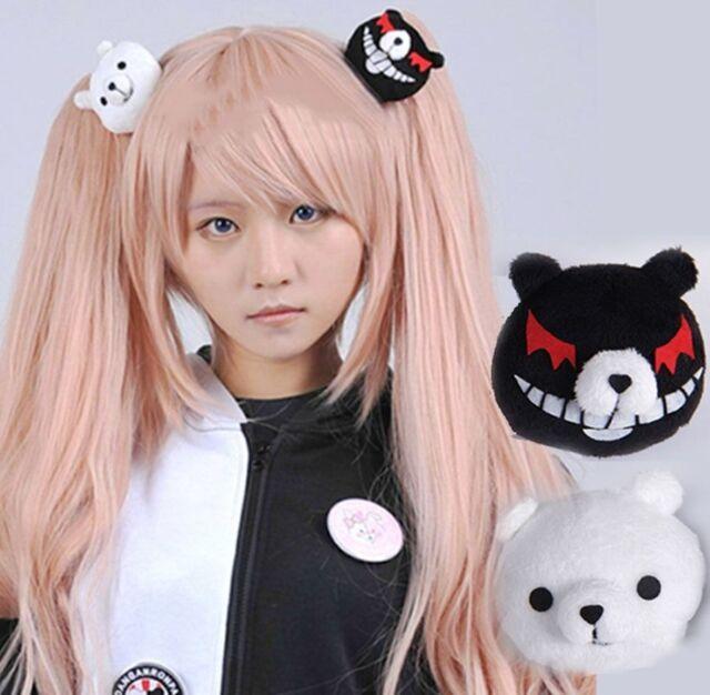 Anime Dangan Ronpa Cosplay Prop Enoshima Junko Mono Kuma Bear Hair Clip Hairpin