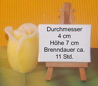 Formenkerze Rosenkerze Geschenkidee Rosenknospe Eyecatcher Wachskerze Gelb /weiß