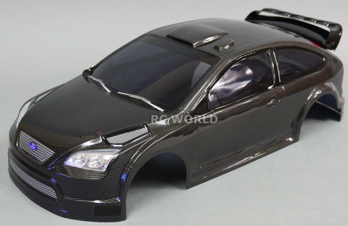 1/10 Rc Auto Carrozzeria Ford Focus Fibra di Carbonio 190mm Finito Nero