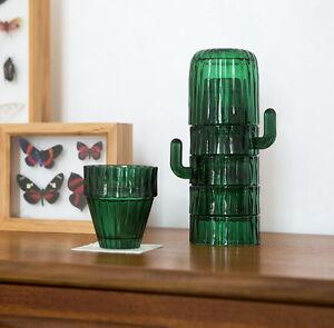 Saguaro-Glasses-DOIY-6er-Glaeserset-Kaktus-Glas-Gruen