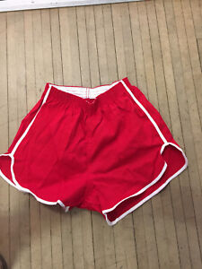 VINTAGE 70S RED GYM SHORTS WITH WHITE STRIPE USA MADE DEAD STOCK