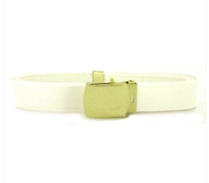 Male Khaki Cotton with Brass Buckle and TIP XL Vanguard Navy Belt and Buckle