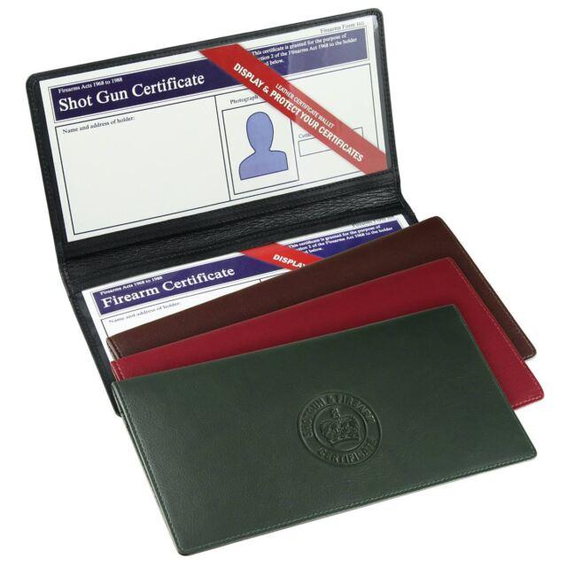 Double Shotgun & Firearm Certificate Wallet/Holder - Genuine Leather - 4 Colours